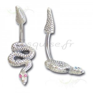 Piercing nombril serpent ondulant serti