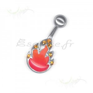 Piercing nombril Flame Printed Ball