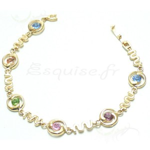 Bracelet plaqué or empierrée de zircons multicolor
