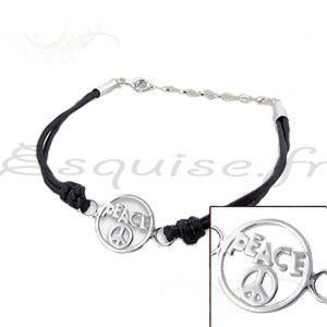 Bracelet argent fantaisie peace and love