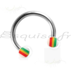 Piercing fer a cheval bille de couleur jamaique