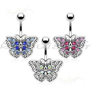 Piercing nombril papillon fondue de couleurs
