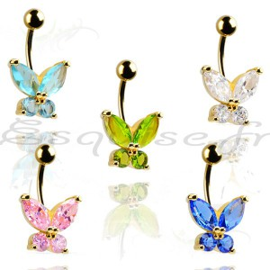 Piercing nombril papillon serti de pierres