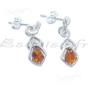 Boucles d'oreille ambre rectangle argenté