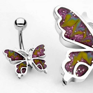 Piercing nombril papillon purple