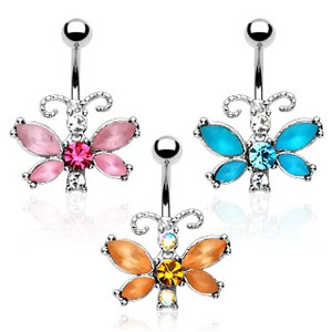 Piercing nombril papillon serti et brillant