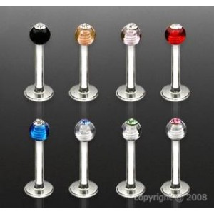 Piercing UV gem ball - labret fluorescent