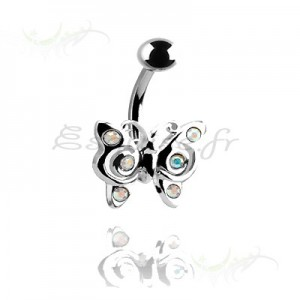 Piercing nombril papillon en rhodium blanc