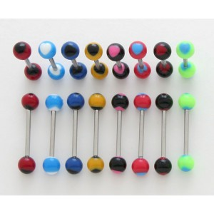 piercing langue acrylique motif coeur ref : co01