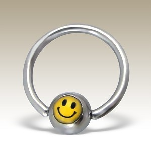 Piercing nombril anneau smiley