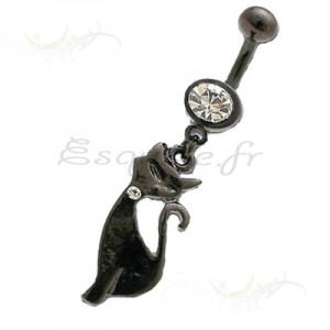 Piercing nombril chat noir