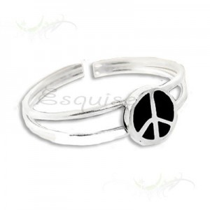 Bague de pied peace and love - argent
