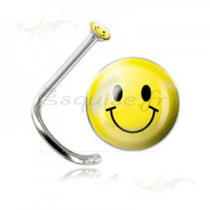 Piercing de nez smiley jaune