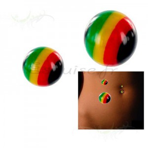 Elément de piercing 1.6 mm - rasta colour