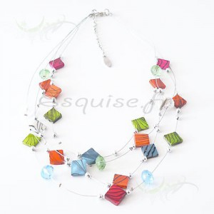 Collier cable fantaisie - anis - orange et rouge