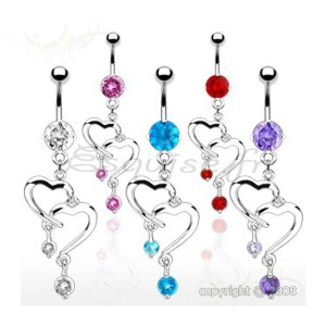 Piercing nombril double coeur pavé de zircons