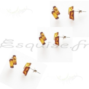 bijou boucle oreille rectangle ambre cognac