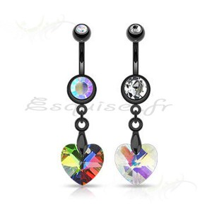 Piercing nombril coeur reflets changeants