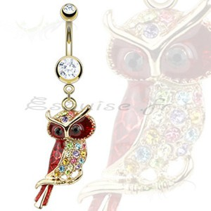 Piercing nombril hibou arc en ciel