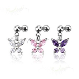 Piercing nombril papillon zirconium