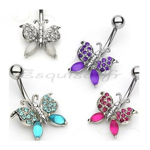 Piercing nombril papillon authentique