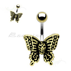 Piercing nombril papillon bronze