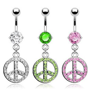 Piercing nombril pendentif peace and love