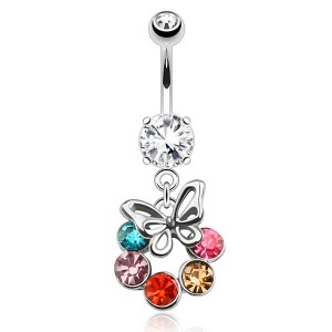 Piercing nombril papillon cercle de zircons