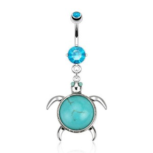 Piercing nombril tortue turquoise