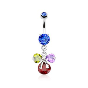 Piercing nombril noeud cadeau multicolore