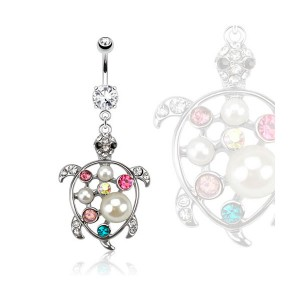 Piercing nombril tortue perles et zircons