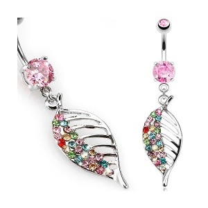 Piercing nombril feuille gem multicolore