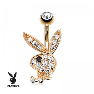 Bijou de nombril playboy zircon plaqoé or