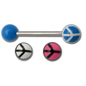 Barbel acier boule piercing acryliques peace and love rose
